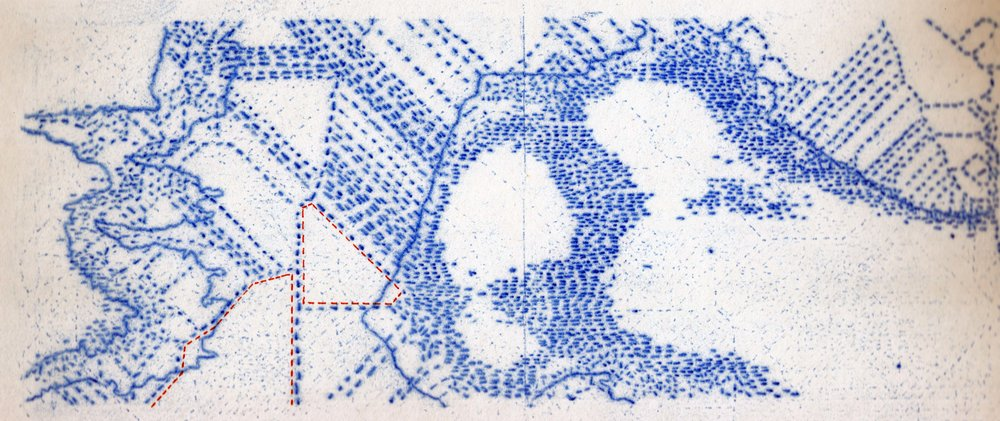 Mustafa El Husseiny, Map 8, 2015, Tracing using carbon paper and ink on paper, 23.5 x 34 cm