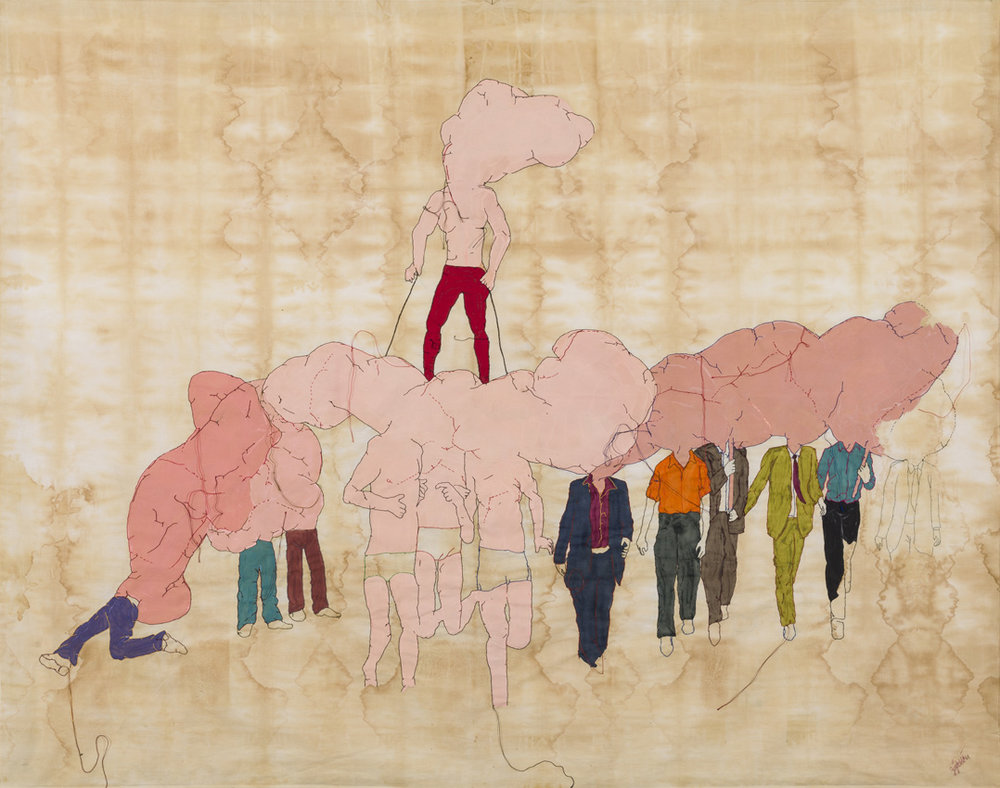 Absent Demonstration, 2016, Embroidery and painting on natural dyed fabric, 116 x 146 cm.
