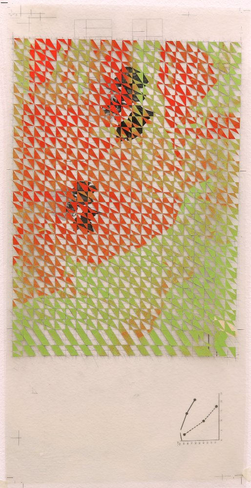 Untitled (red, green), 2016, spray paint on paper collage, on plastic transparencies from my father's office, 20 x 50 cm