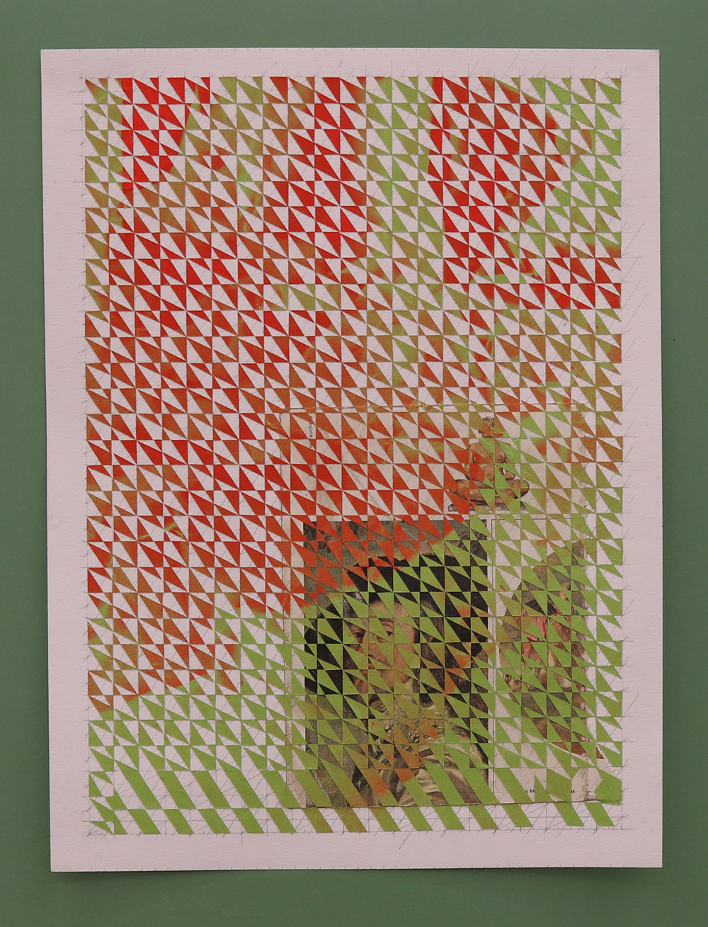 Untitled, part 1 (red, green), 2016, spray paint on paper collage, book page on paper mounted on plastic laminate, 20 x 30 cm.