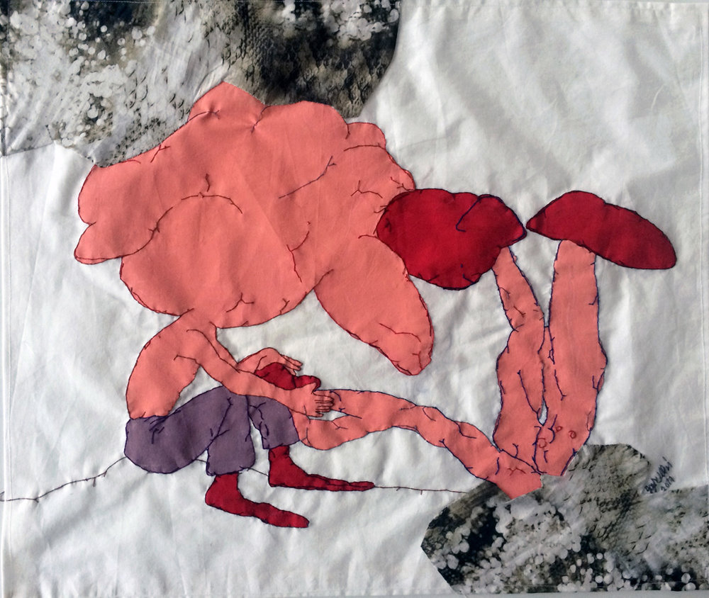 Visitors –V, 2017, Stitching - painting and patchwork on found fabric,  54 x 74 cm.