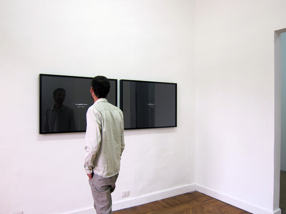 Google Me / Duplicate Self-portrait, 2010, two framed photographs (105 x 75 x 7 cm each), digital collage. Installation view, CiC, Cairo, Egypt.