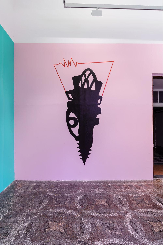 Renovabitvr, acrylic colors, 2015. Installation view at Villa Romana. Photo credit: Elzbieta Bialkowska.