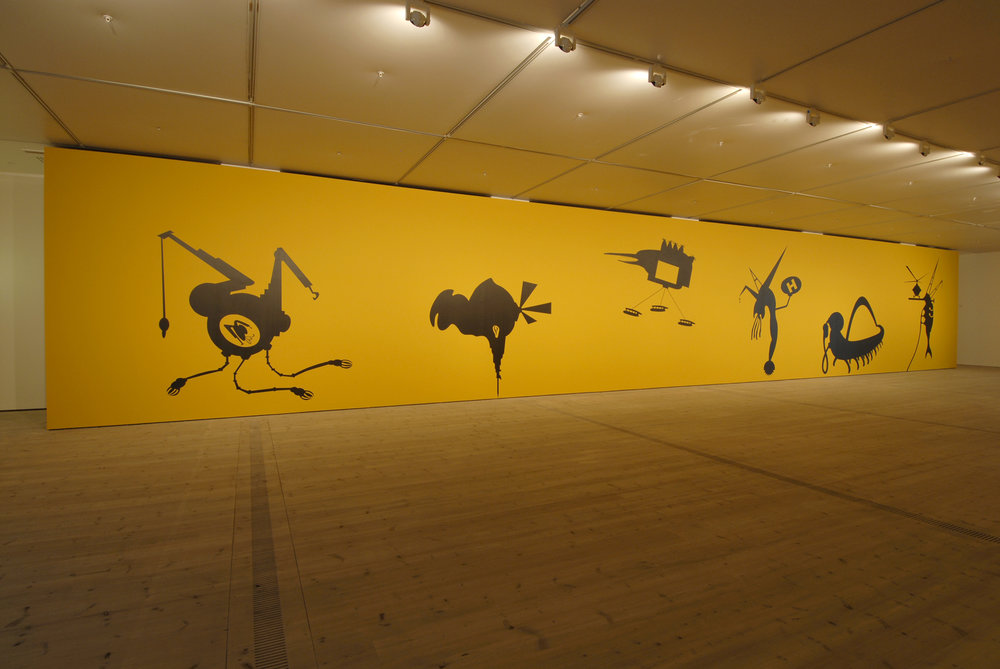 The Bride Stripped Bare by Her Energy's' Evil, 2006, two large scale wall paintings (10 m each + acrylic colors), audio elements and a projected short 3D animated film, 2 min. 44 sec. Installation view at BALTIC Centre for Contemporary Art, Gateshead, UK. Credits: Image by Colin Davison