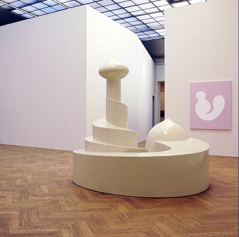 Untitled (Industrial Harem), 2003, Sculpture: wood / PV foam sculpture 199.35 x 249. 88 x 178.64 cm, three paintings, acrylic on canvas, 140 x 100 x 5 cm each. Installation view, Transferts, Palais des Beaux-Arts, Brussels, Belgium.