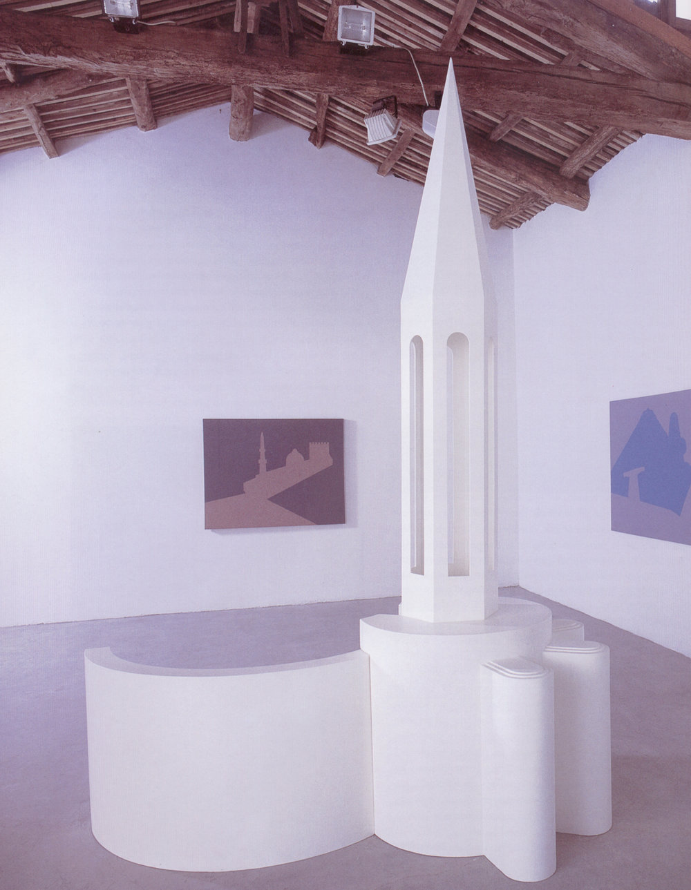 Reconfigured Monuments, 2001, sculpture: painted wood, 210 x 150 x 270 cm and three paintings: acrylic on canvas,140 x 110 cm. Installation view , Marco Noire Contemporary Arts Gallery, Turin, Italy, 2002. Courtesy: The Modern Art Gallery (GAM), Turin, Italy