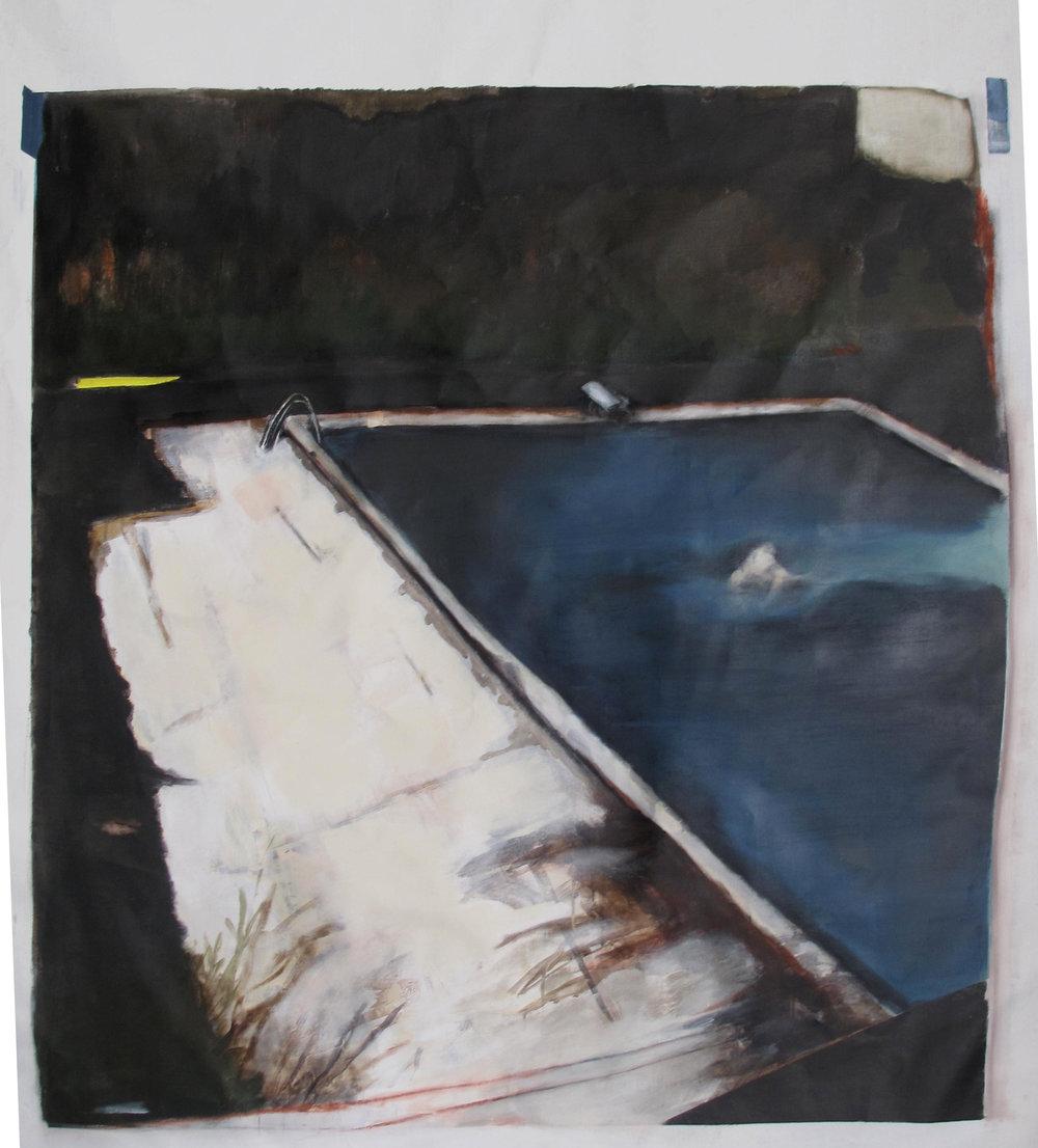 Float, 2017, acrylic paint on canvas, 147 x 137cm.