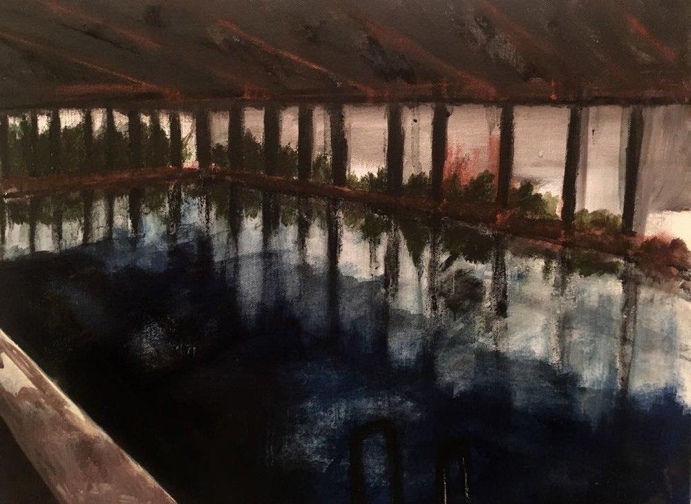 Day Swim 2, 2018, acrylic on canvas, 45 x 37 cm.