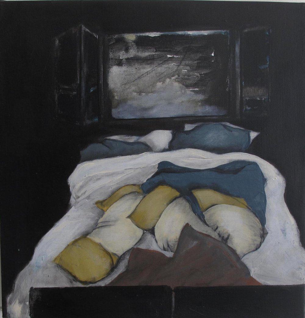 Bed, 2017, acrylic on canvas, 46 x 46 cm.