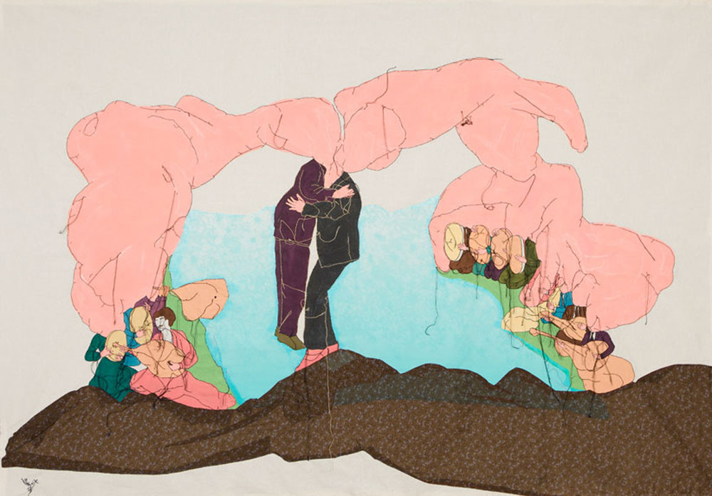 Diplomacy, 2014, embroidery and painting on fabric, 147 x 206 cm.
