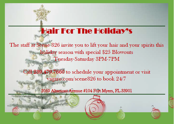 Enjoy this amazing deal all December long! Happy Holiday's from Scene 826 Hair Studio.