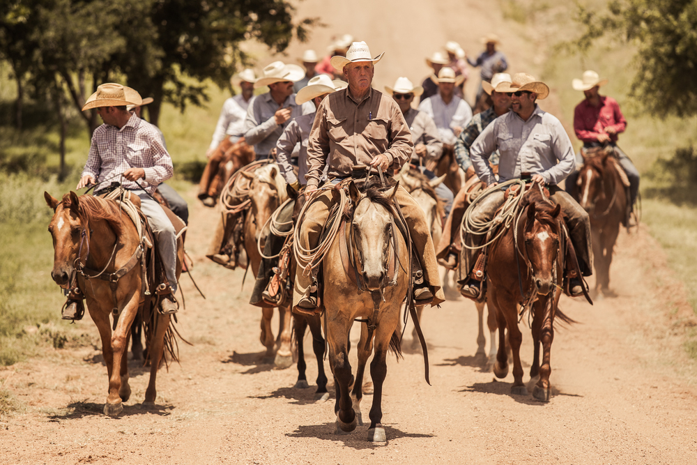 Bill Smith leads a group of cowboys as they return from moving the mares back into their original pen.