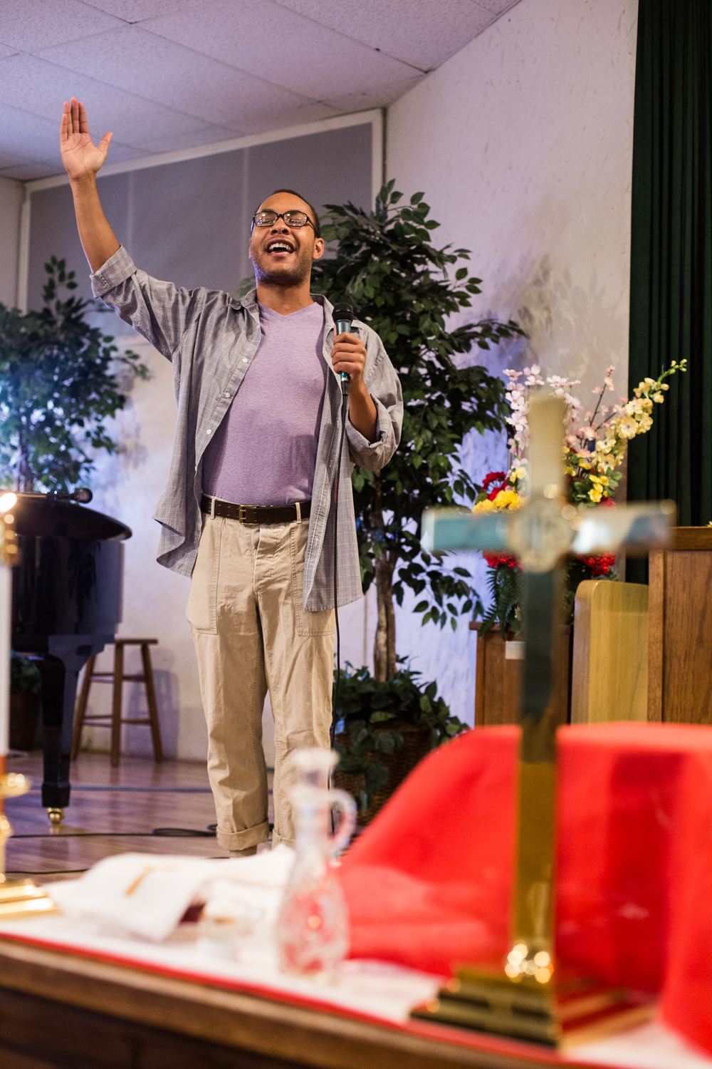 "Leon Eldridge leads the congregation in singing hymns during the ""Singspiration"" portion of the service at the Metropolitan Community Church.    Having been involved in music ministry since he was 16, Eldridge said music ministry has been a big part of his life.    ""While I was at SMU, and even while I was at SPC [South Plains College], I worked in music ministry as a way to feed myself,"" Eldridge said, ""and my love of the church has kind of grown.""     He said he took the position at MCC, because it was a good job in a church that he felt comfortable attending."