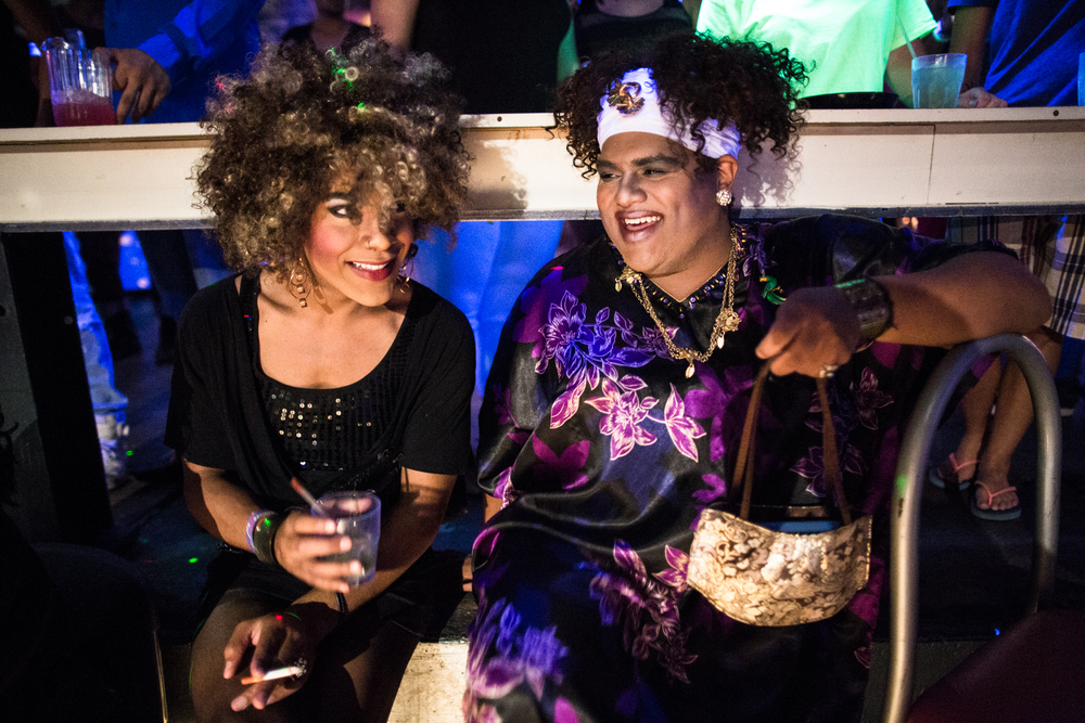 Leon Eldridge shares a laugh with his friend Stuart Williams, pictured here as drag queen Acaicai Phillips, whom is Just starting to dress seriously in drag.