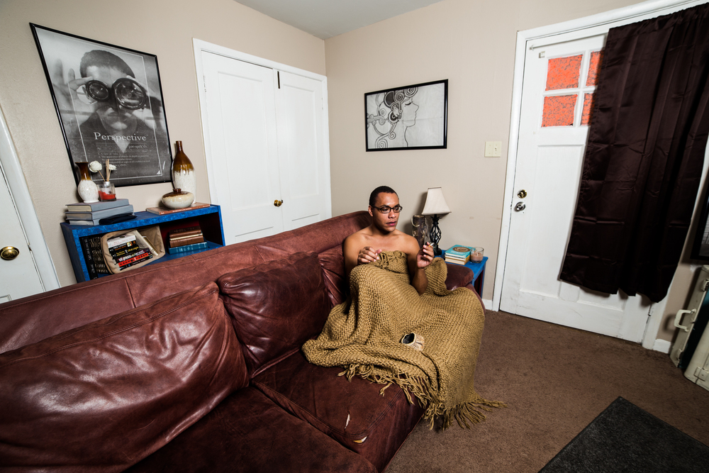 "Leon Eldridge smokes a cigarette and settles in for the night at his home.    Eldridge said drag has been an exciting adventure, because he gets to experiment, not just with gender identity, but with his own identity as a person. He said it's a very freeing experience.    ""I think that there's a lot of pressure from society on what qualifies as masculine and feminine, or what makes you a man and what makes you a woman,"" Eldridge said, ""and I think that everything is kind of on a spectrum."""