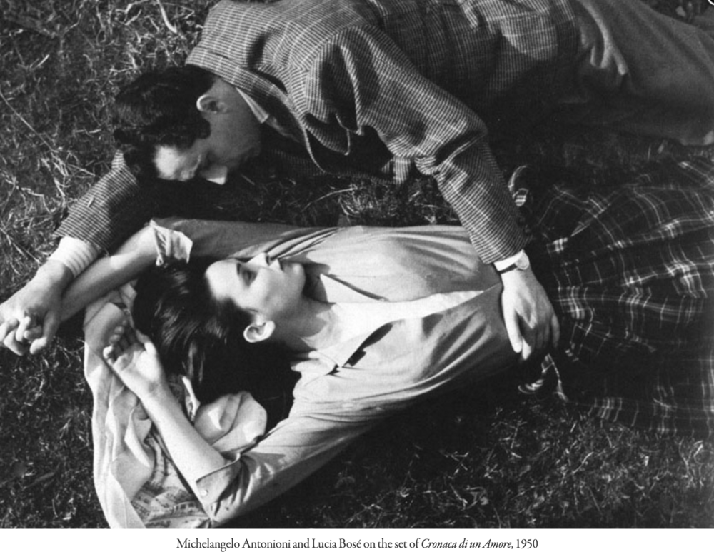 Something about this still image - from the film  Cronaca di un Amore  - has captured my romantic imagination. Is it their pose? The distance between their bodies? The clothing and style of the times? To me it evokes an old era of subtleties. Love letters sent by post, and a general sense of yearning.
