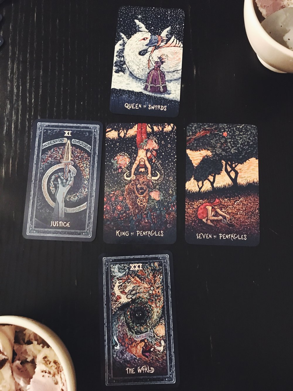 tarot reading + ice cream (triple layer) with my brother and college best friend. this one was a good spread for me. (these cards are by James R Eads).