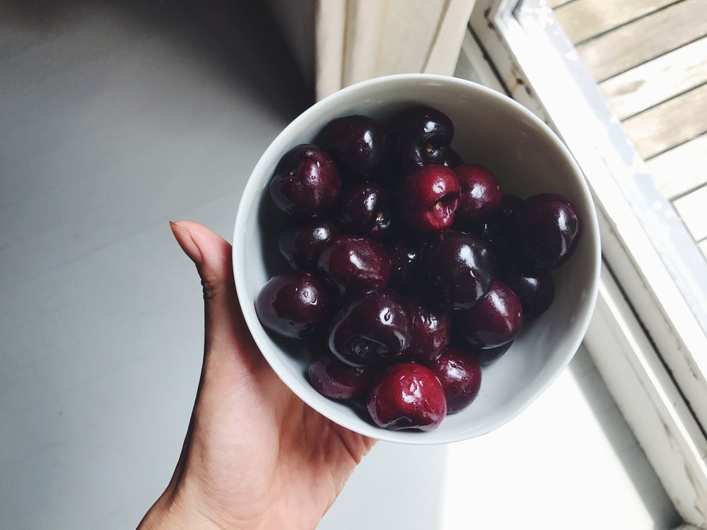 black cherries in a porcelain bowl, I couldn't help myself!