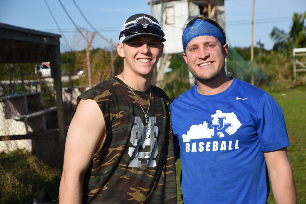 MSU outfielder Hunter Vansau and UK outfielder Storm Wilson