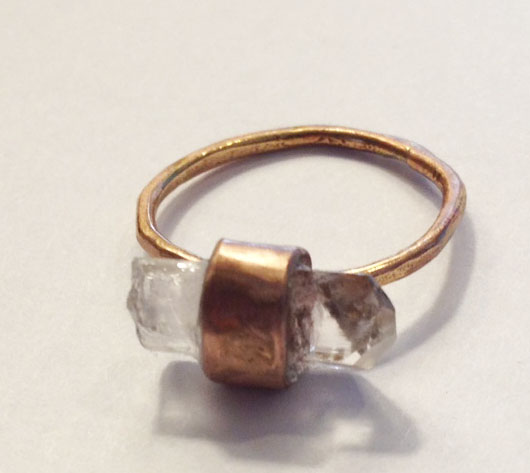 gold wrapped crystal ring