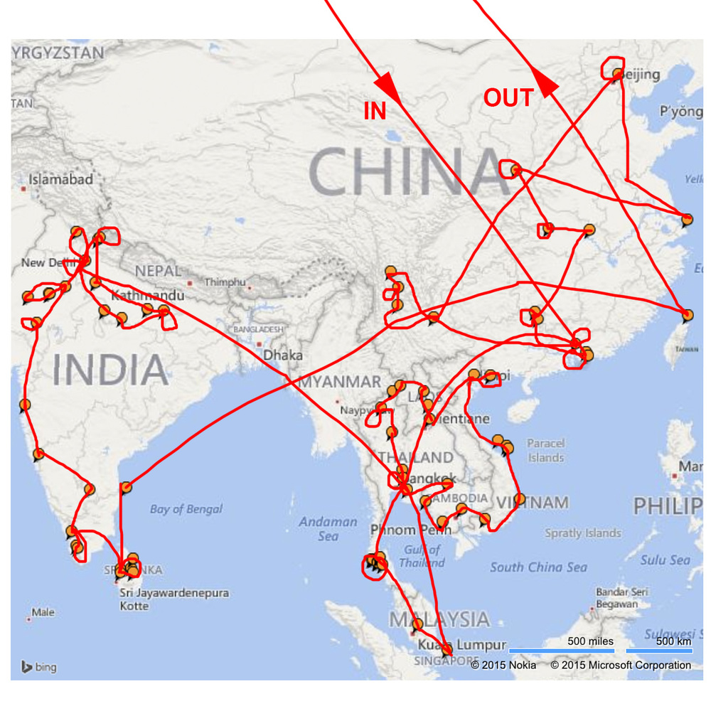 September 2014 - March 2015. 10 countires but I Missed Nepal and Myanmar!
