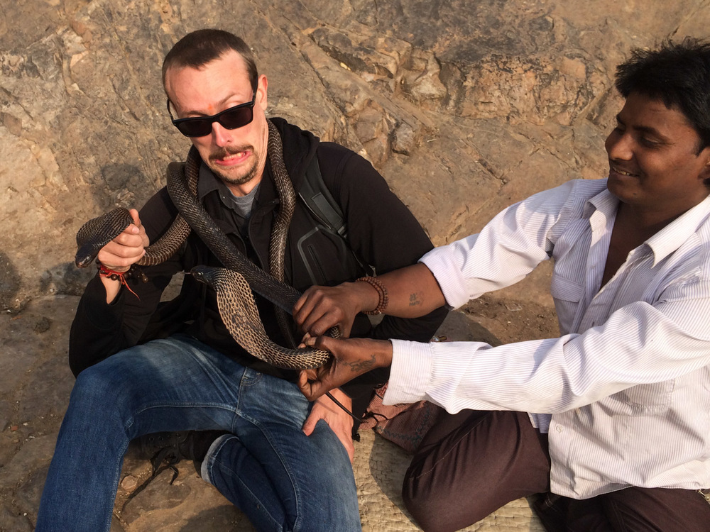 Close encounter with cobras in Rajasthan. Note the snakeman's sheer delight at my terror.