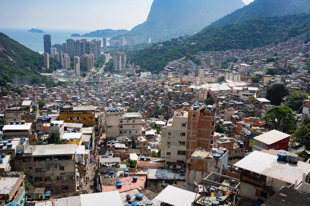 Rio de Janeiro's Rocinha favela as seen from the top of the hill.