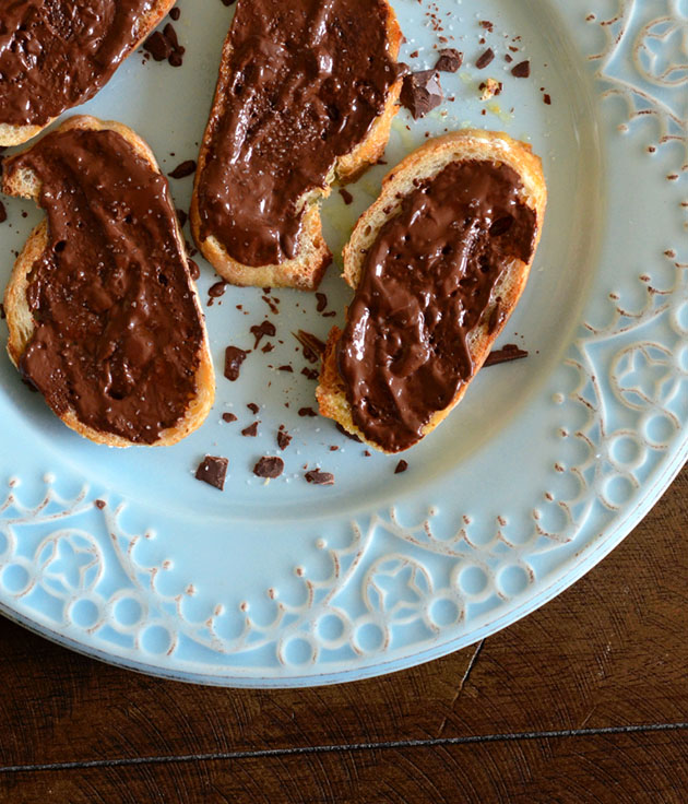 Toasts with Chocolate, Olive Oil, and Sea Salt — Plate and Pencil