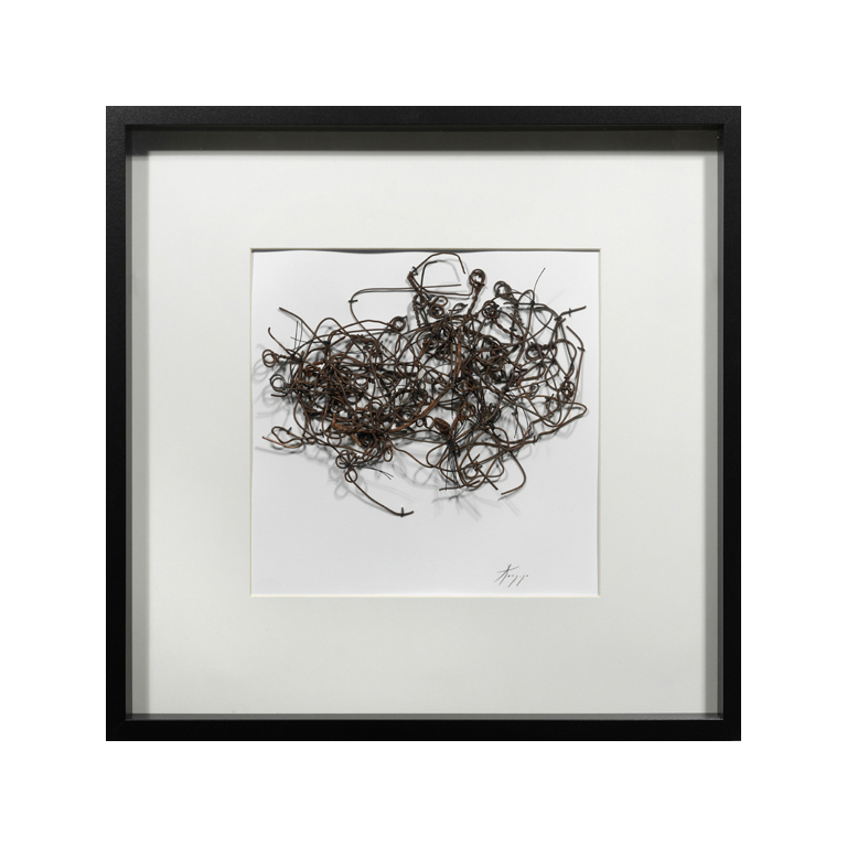 The Walking Drawings , (#512D), metal, thread on paper.