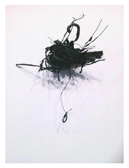 "Blow Out Point Series (#113),  10"" X 9"", tire, wire, lace, thread."
