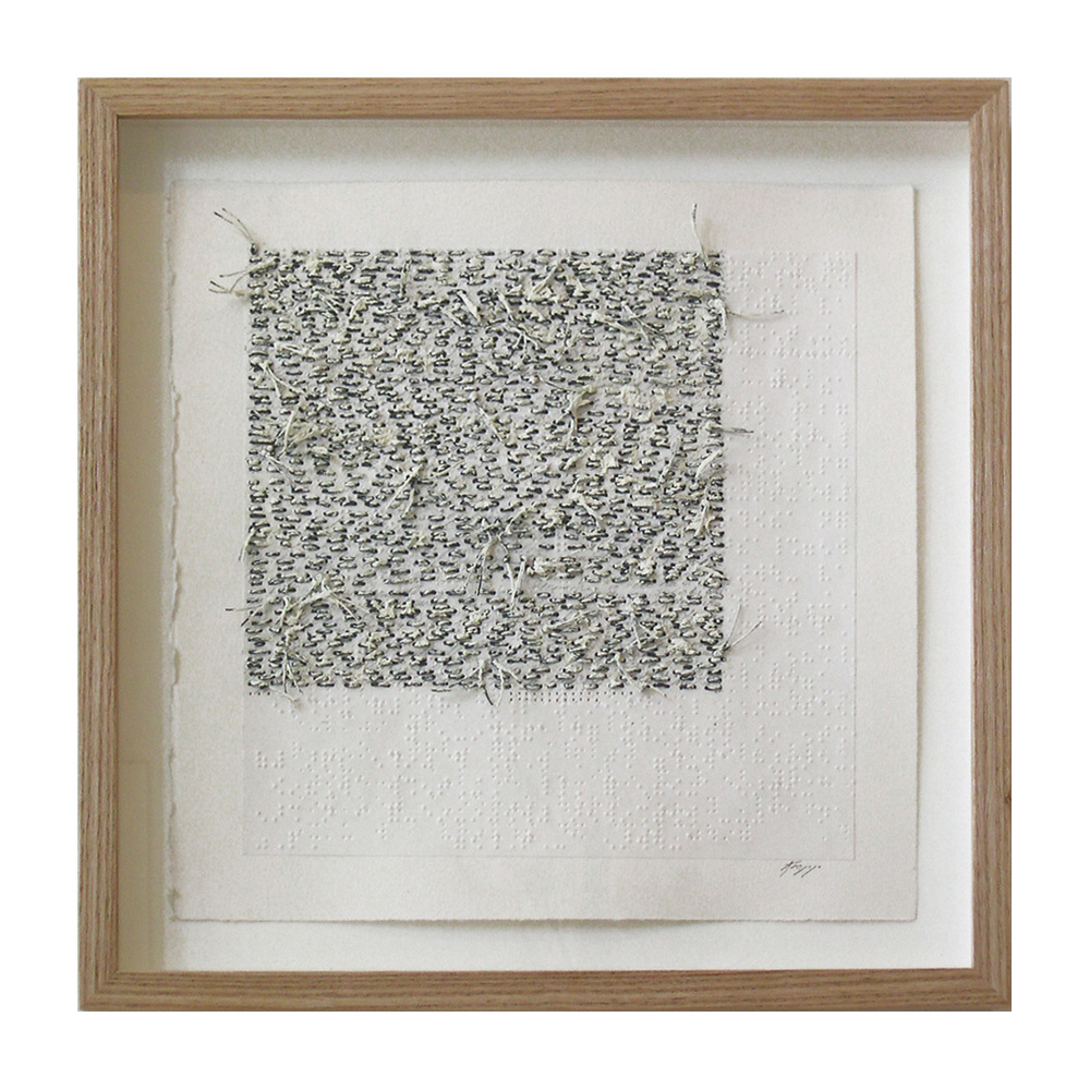 "White Noise Touch Tone (105D) , 13.75""X13.75"", oil, thread on braille."