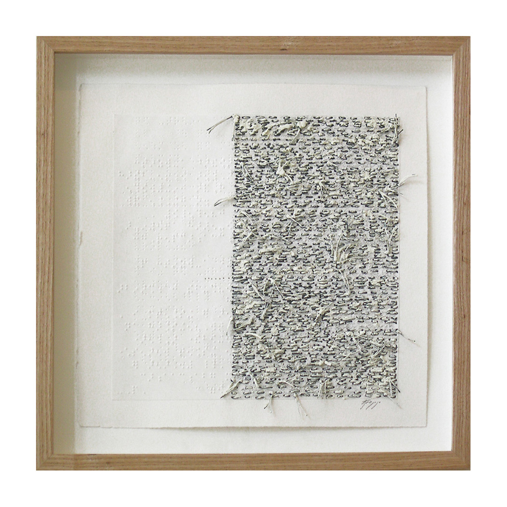 "White Noise Touch Tone (305D),  13.75""X13.75"", oil, thread on braille."
