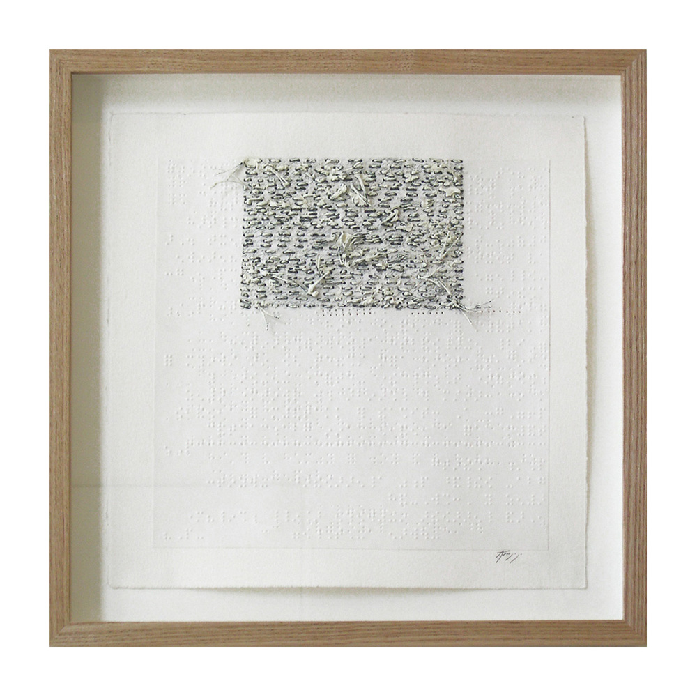 "White Noise Touch Tone (405D), 13.75""X13.75"", oil, thread on braille."