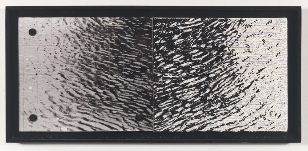 "Parallel Thoughts ll (#309)   , 9.5"" X 20.5"", photo, thread, text, plexiglass."