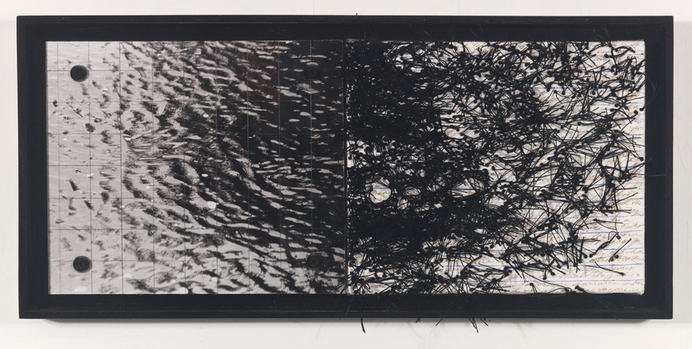 "Parallel Thoughts l (#209) , 9.5"" X 20.5"", photo, thread, text, plexiglass."