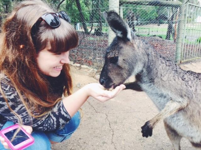 Emily Hunt feeding a Kangaroo