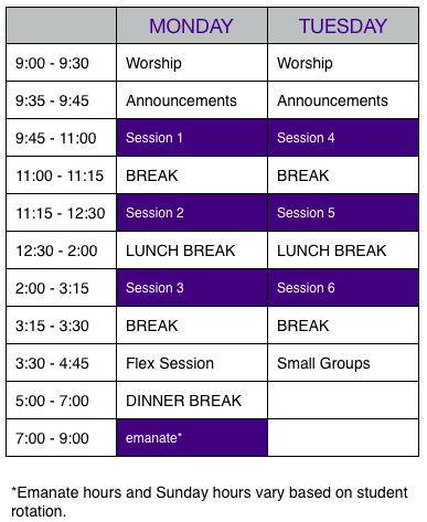 Click to see a larger version of the schedule.