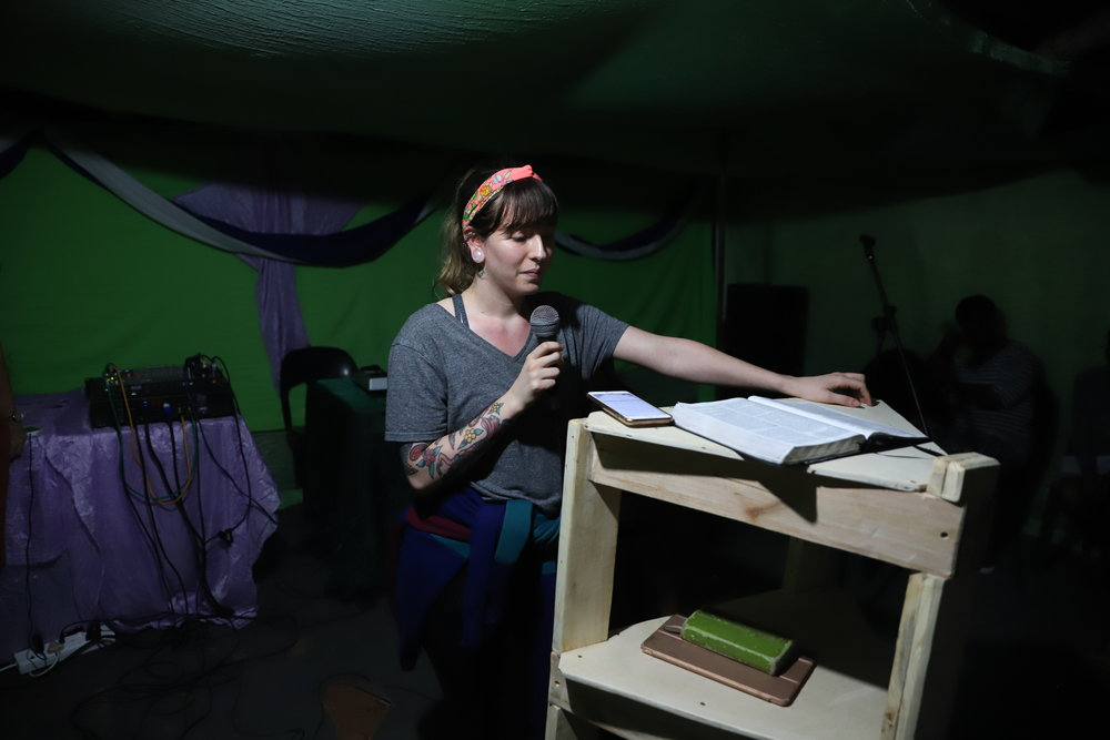 Kylie speaking in Gutshwa