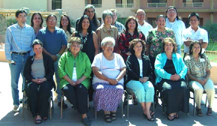 PARTICIPANT GROUP PHOTO (Sitting L to R) Elizabeth Richards, LaDonna Harris, Mary Thomas, Luz Vega-Marquis, Wilma Mankiller, Jo Ann Kauffman (Standing L to R) Louis Delgado, Winona LaDuke, Warren Kontz, Gail Small, Octaviana Trujillo, Charlie Soap, Lucille Echohawk, Kyle Smith, Valorie Johnson, Sydney Beane, Paula Starr, Michael Chapman, Michael Smith (Not in picture) Beatrice Medicine, Michael Roberts.