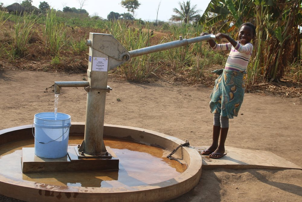 Funds raised by the PJS Glitter Lemonade Club in 2015 helped to build this well in Mozambique!