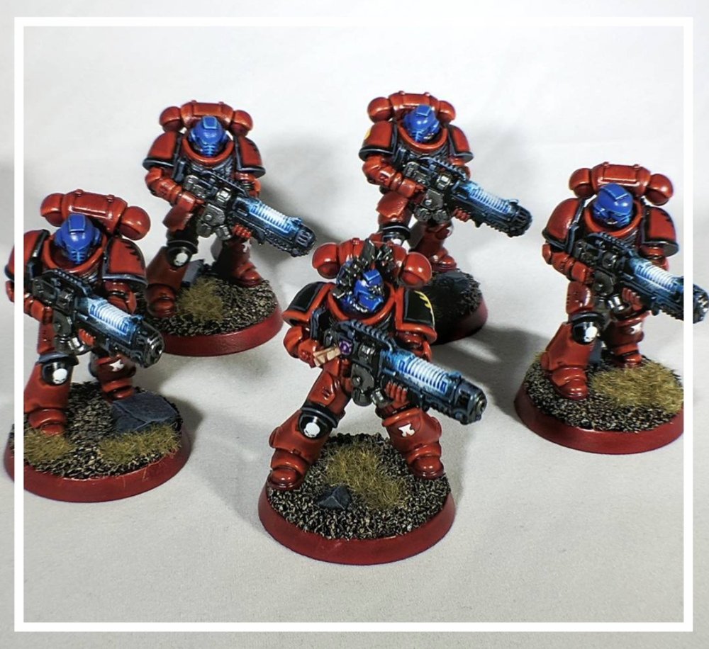 Tommy's hand-painted Blood Angels 2nd Company Hellblasters for Warhammer 40k!