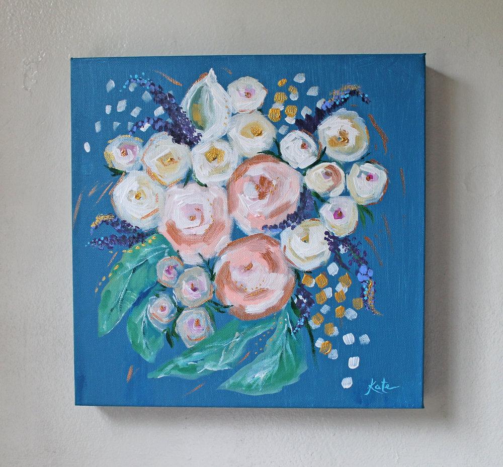 "Bridal Bouquet | 12"" x 12"" on Wood Panel | Commission"