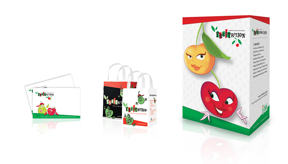 Price cards, tote bags, and two box cherry bin