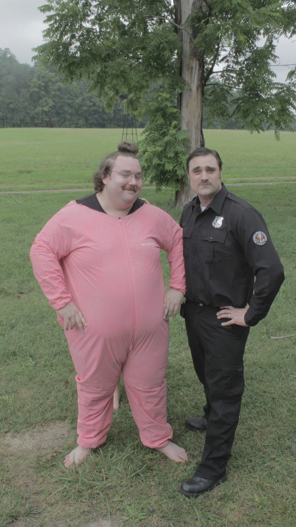 "Stuart Kiczek (Pink Man) and Josh Potter (""Dueger"")"