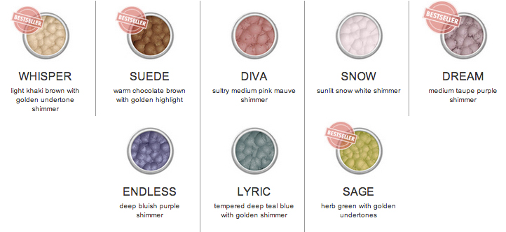 Afterglow Organic Infused Eye Shadow shades