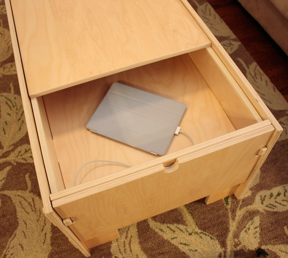 Storage Coffee Table with stowed iPad