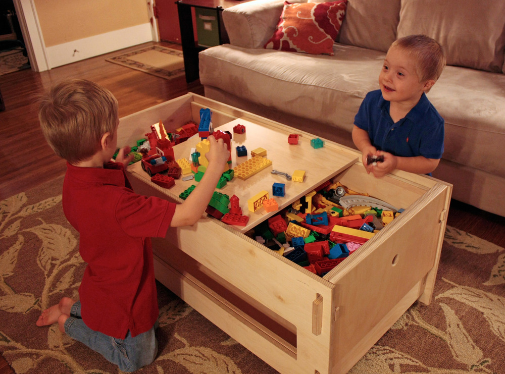 Lego Storage Table with Shelf - filled with Duplo