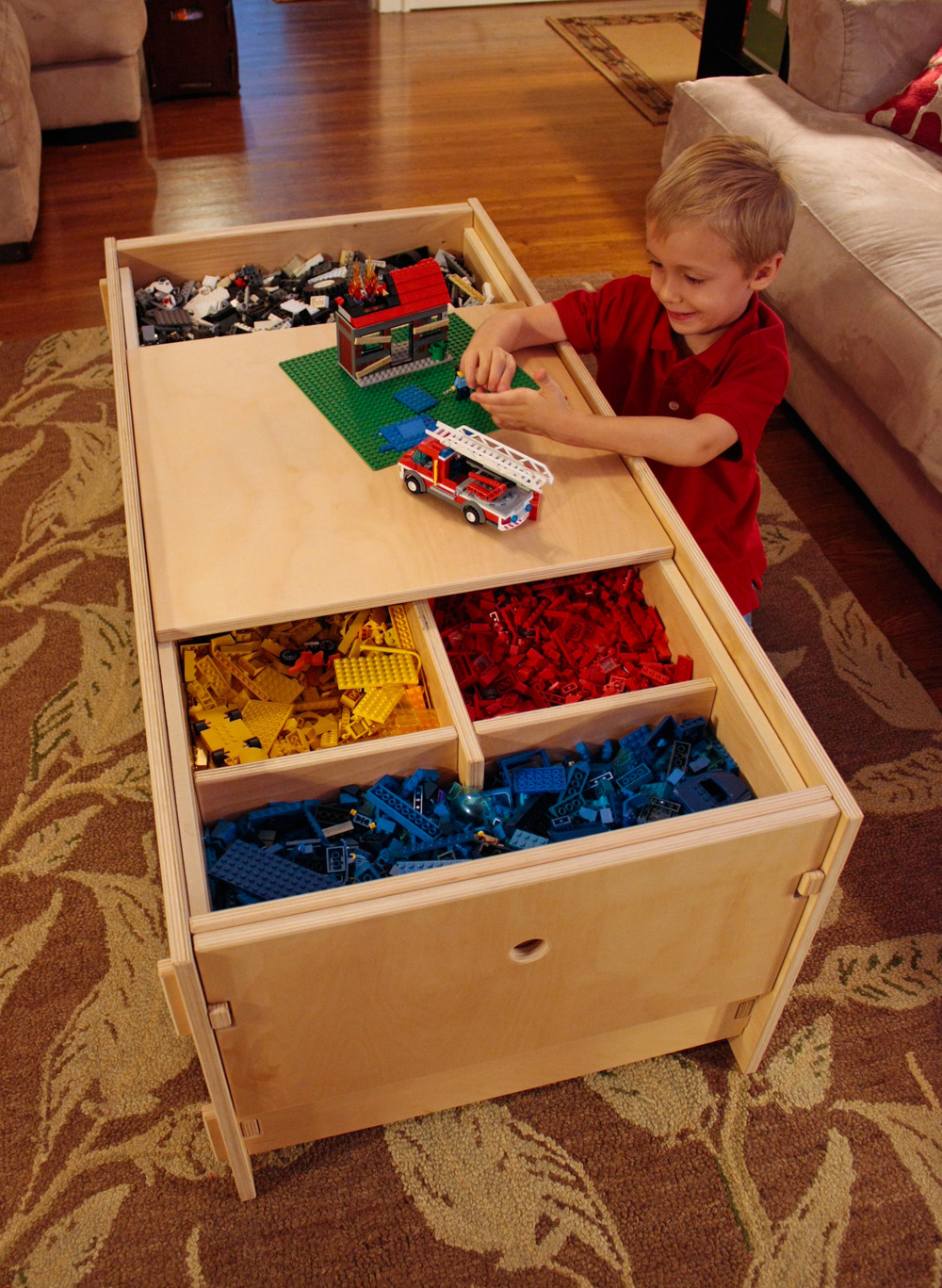 Lego Storage Table with Shelf - filled with Lego