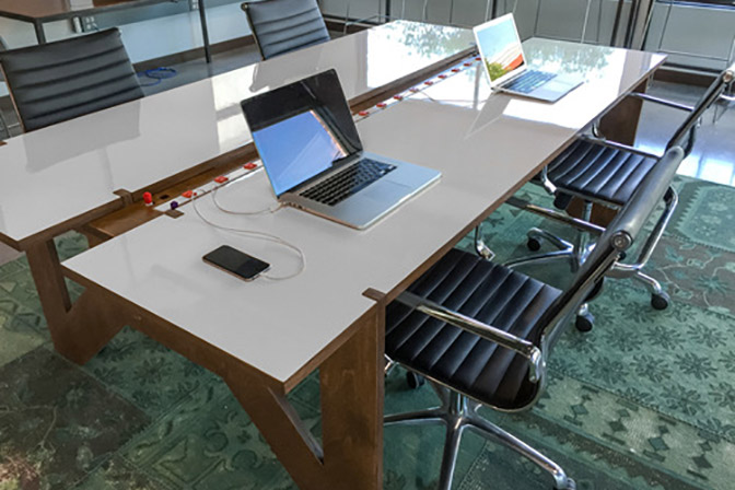 Weld Table - This is the world's most powerful work table with built in chargers, a whiteboard surface and 5-minute assembly.Learn More