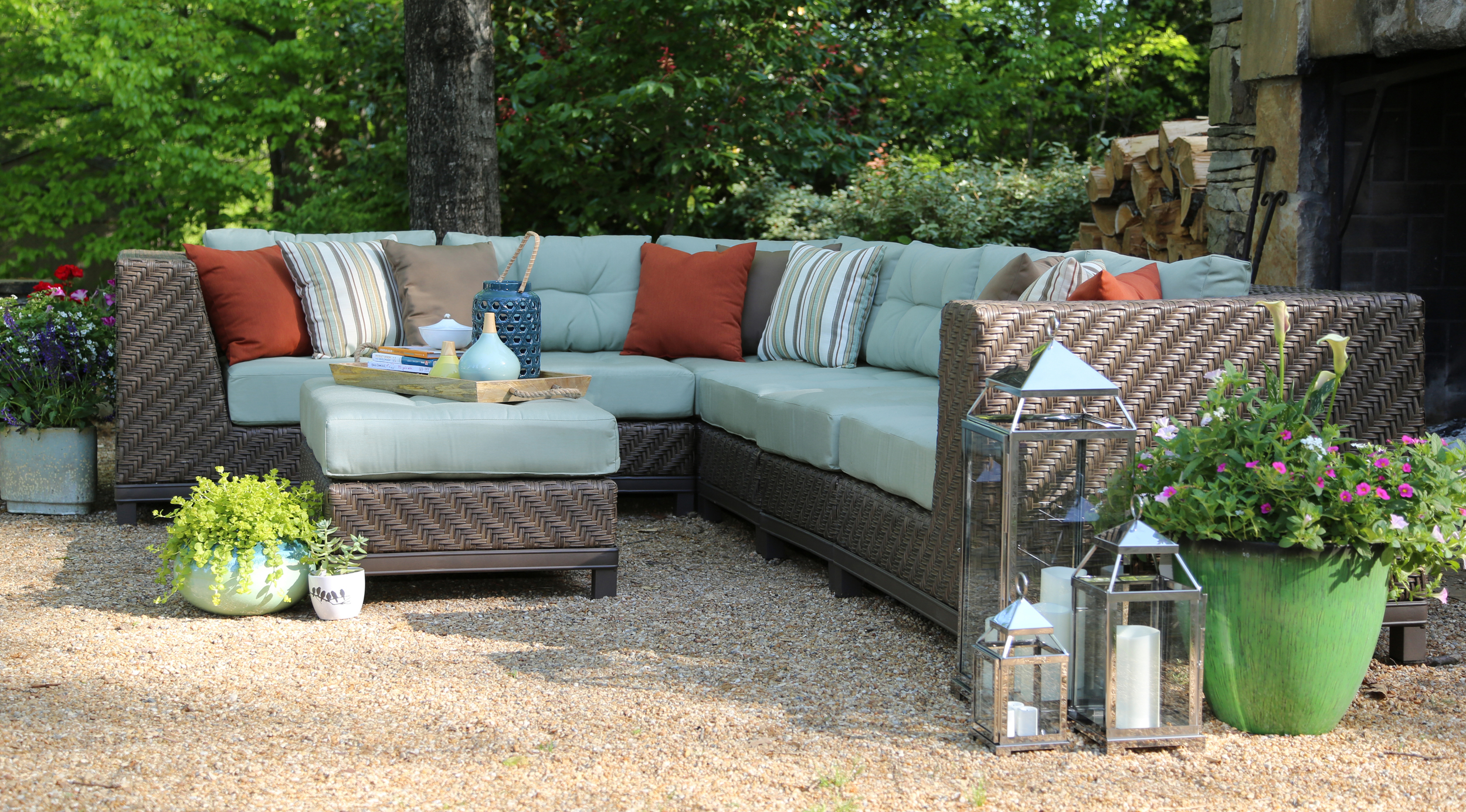 New Dawson 7pc Sectional 2 Colors Ae Outdoor